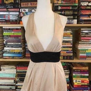 BCBGMaxAzria cream halter dress
